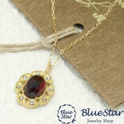ガーネット・ダイヤモンド デザインネックレス  BlueStar 1月の誕生石ガーネット