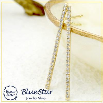 23石のダイヤモンドを直線に並べてきらめきラインピアス Bluestar