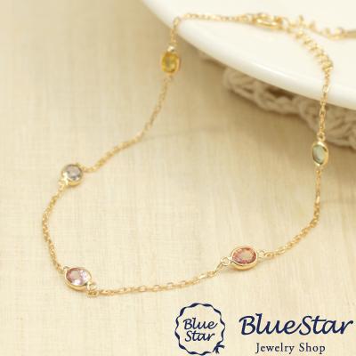 サファイヤの輝きがおしゃれなブレスレット 16~19cmAJ付きK18YG BlueStar