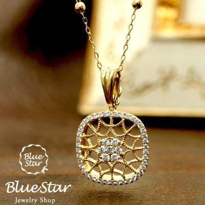 すかしネックレス すかしのペンダント 45cmフリーアジャスター レディース ダイヤモンド0.26ct K18イエローゴールドネックレス BlueStar