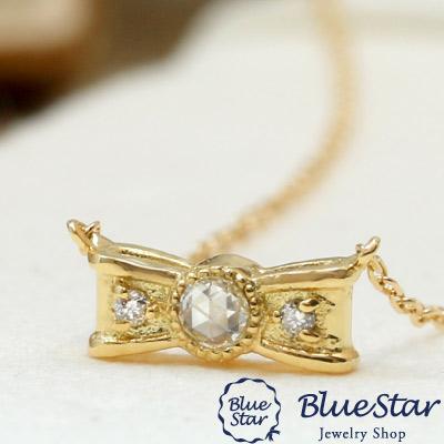 ローズカットダイヤモンド デザインネックレス リボン レディース 40cm 0.03ct 代官山BlueStar