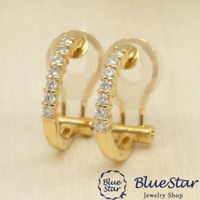 14石のダイヤモンドを並べた上品なフープイヤリング K18YG デザインイヤリング クリップ式イヤリング BlueStar