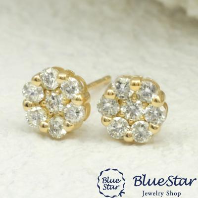 0.50ct 左右7石づつ配置されたダイヤモンドが上品で清楚 ピアス K18YG BlueStar