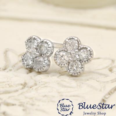 耳の上でダイヤモンドの輝きとかわいさを感じさせるお花のモチーフピアス K18WG  BlueStar