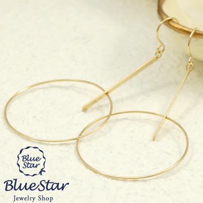 大振りサークルが織りなす大人のおしゃれピアス K18YG BlueStar