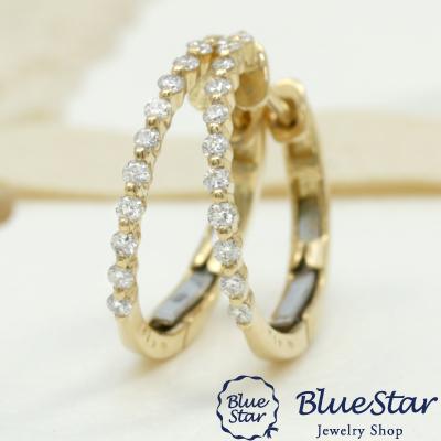 <title>簡単装着中折れ式の金具22石のダイヤモンドフープピアス 22石のダイヤモンドを並べた上品なフープピアス K18YG 本日の目玉 BlueStar</title>