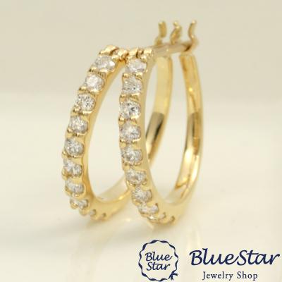 美品  【0.30ct】20石のダイヤモンドを並べた上品なフープピアス BlueStar K18YG BlueStar, インテリア家具 KOZUM+i:76fc4c81 --- promilahcn.com