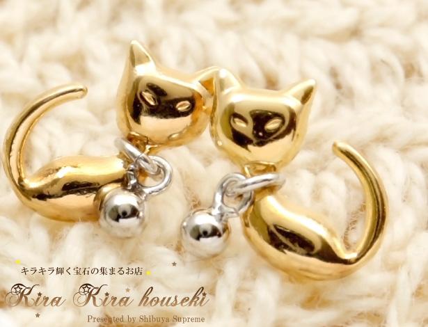 ネコモチーフピアス ネコ好きにはたまらない☆とっても人気! K18YG・K14WG (猫のデザイン)
