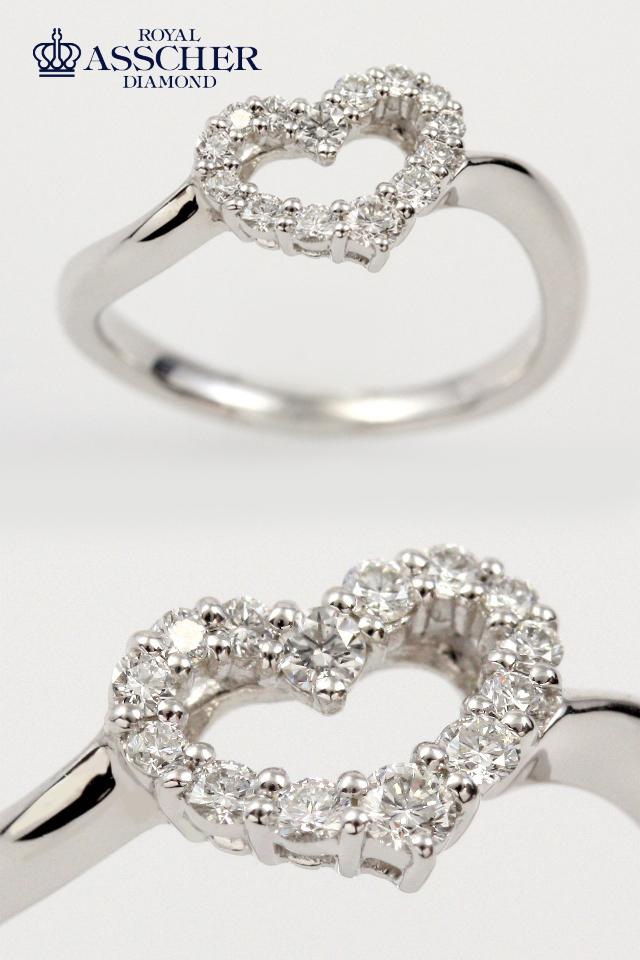 【RR0078B】ロイヤルアッシャーダイヤモンド プラチナピンキーリング