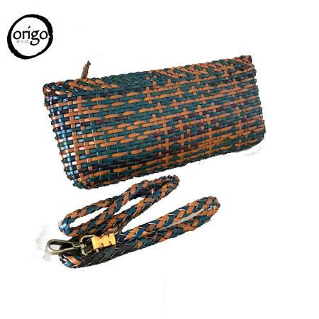☆レディース 2wayミニショルダーバッグ 本革(レザー)を使用 2色で編みこんだお洒落なメッシュの斜め掛けバッグ ストラップを外せばポーチとしてもお使い頂けます。普段使い 旅行 プレゼント Origo オリゴ OR0022 送料無料★
