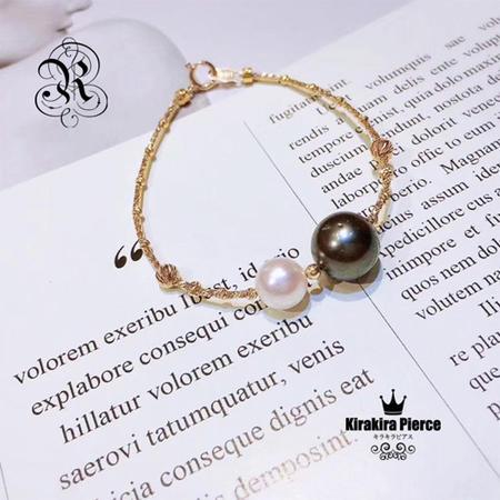 【RUKA瑠夏】☆新作☆アコヤ真珠と黒蝶真珠の美しさが際立つシンプルなブレスレット。プレゼントにもおすすめです。アコヤ8-8.5mm 黒蝶真珠10-11mm 18金ブレスレット 送料無料 PE0044A