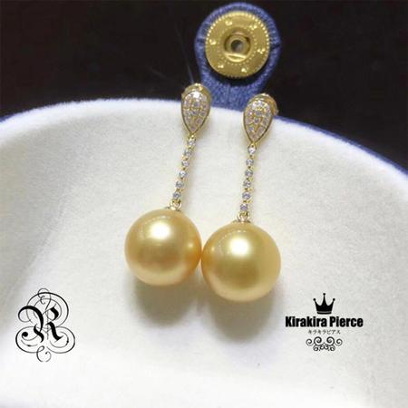 【RUKA瑠夏】☆新作☆ゴージャスな存在感を醸しつつ、お肌に優しくなじむゴールデンパールのピアス。素材の美しさが際立つシンプルなデザインです。ゆらゆらチェーンピアス白蝶真珠10-11mmPE0051A 送料無料