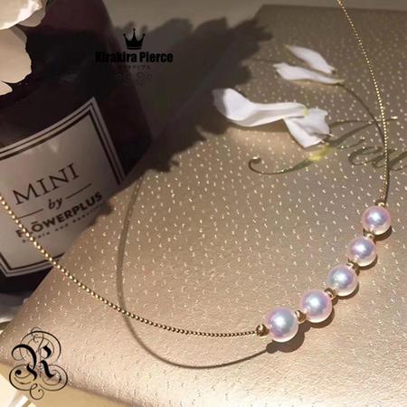 【RUKA瑠夏】大粒のアコヤ真珠が華やかに揺れる18金ネックレス。パールをお好きな位置でステイさせることのできる使い方いろいろのジュエリーです。アコヤ真珠ネックレス7.5-8mmPE0057A送料無料