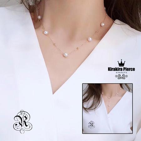 【RUKA瑠夏】☆新作☆リズミカルにパールを配したアコヤ真珠ネックレス。胸元を華やかに印象づけます。18金7-8mmアコヤ真珠ネックレス 送料無料PE0062A