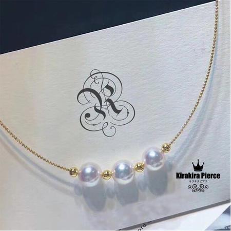 【RUKA瑠夏】☆新作☆三粒のパールを交互に配した、エレガントなペンダント。アコヤ真珠ネックレス 胸元を優雅に引き立てます。PE0059A 18金アコヤ真珠8-8.5mm 送料無料 PE0063A