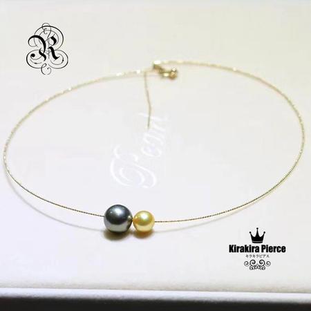 【RUKA瑠夏】大粒のアコヤ真珠が華やかに揺れる18金ネックレス。お好きなパールをステイさせることのできる使い方いろいろのジュエリーです。PE0057A送料無料白蝶真珠:9-10mm;黒蝶真珠:11-12mm