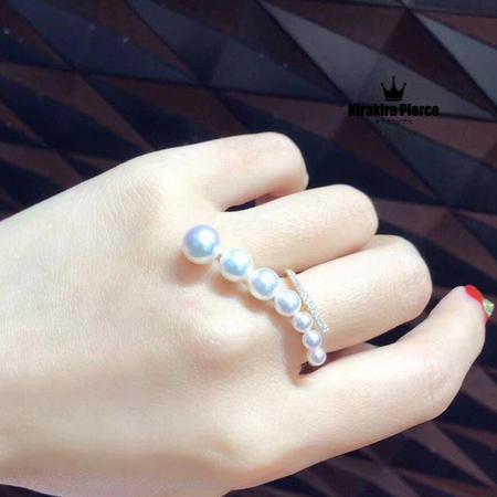 【RUKA瑠夏】☆新作☆ベビーパール斜めに配したパールを一列に連ねたシンプルなデザインの14金リングです。さまざまなシーンでお気軽にお楽しみいただけます。アコヤ真珠指輪3-7mm送料無料PE0072A