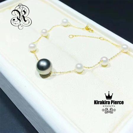 【RUKA瑠夏】☆新作☆リズミカルにアコヤ真珠とブラックパールを配したブレスレット。手元を華やかに印象づけます。PE0092BL