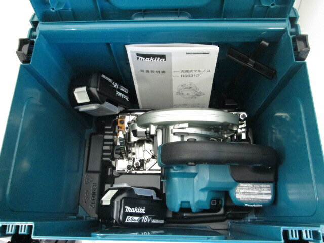 マキタ 18V 165mm充電式マルノコ HS631D[鮫肌チップソー仕様] 本体+[6.0Ah]バッテリBL1860B×2個+ケース