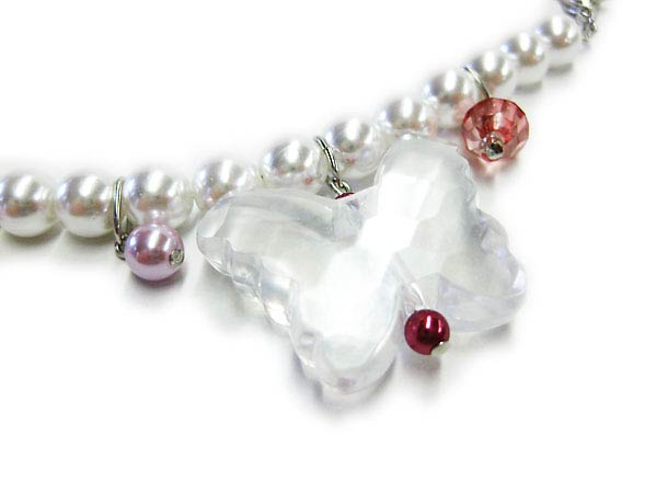 ★Is cute butterfly ● to haori string ★ white pearl of crystal & pearl beads; simple ♪ tree comfort society