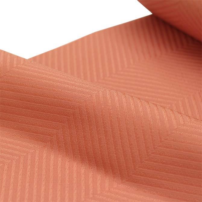 日本製●本場桐生織【日本の色彩シリーズ】紋無地八寸名古屋帯「縞紋」●珊瑚ピンク●【※お仕立て代金込み】仕立て上がった状態でお届けいたします。