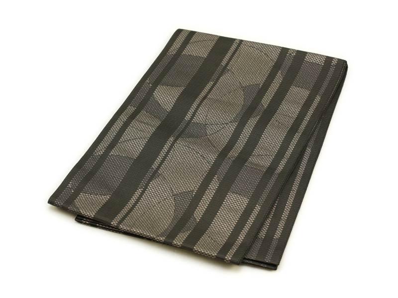 日本製●本場桐生織名古屋帯 鹿の子縞にサークルライン(ダークグリーン)