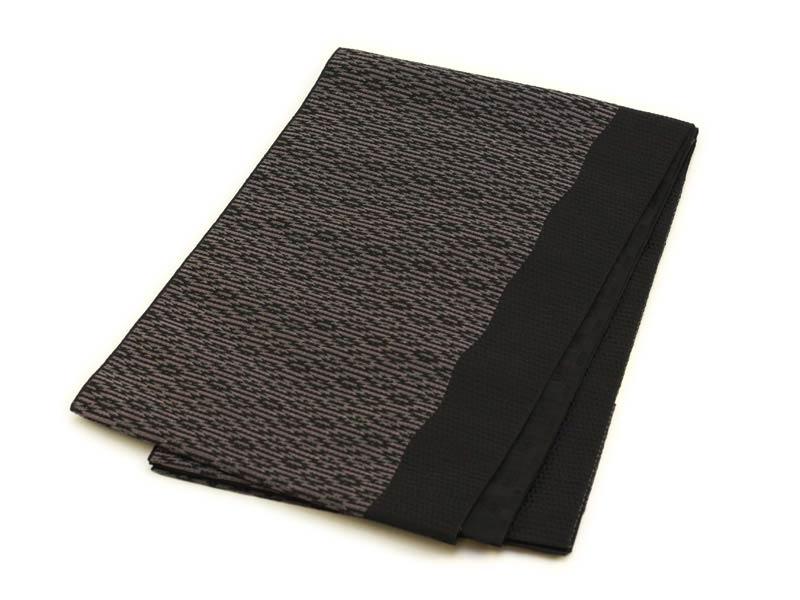 日本製●本場桐生織名古屋帯 幾何学模様(ブラック)