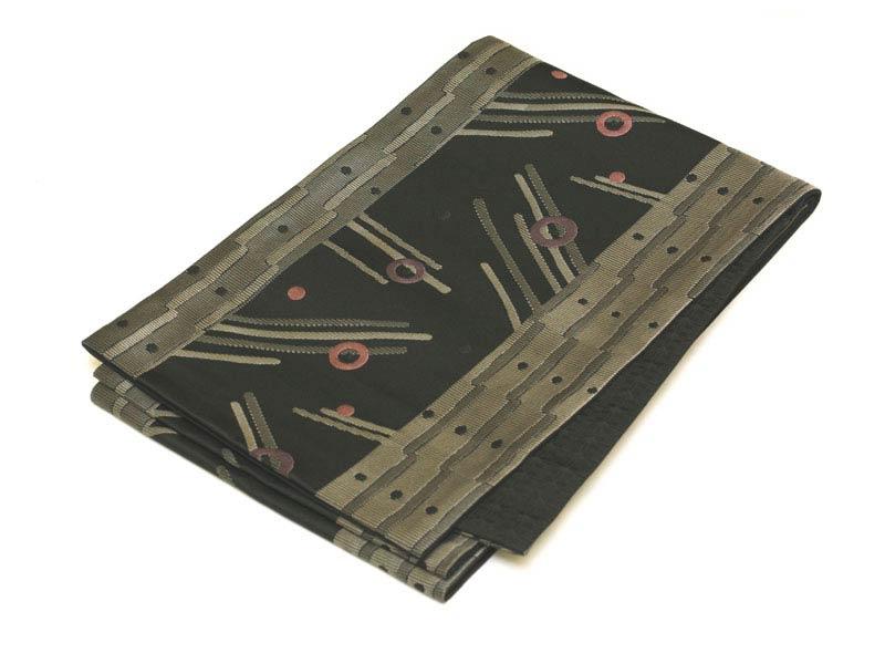 日本製●本場桐生織京袋帯★黒地に樹木をモチーフとした幾何学模様