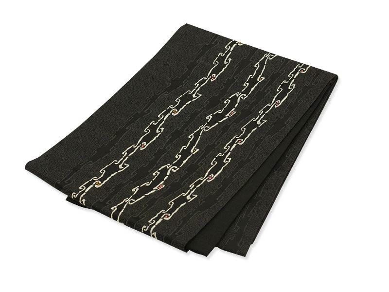 日本製●本場桐生織京袋帯 ブラックに幾何学チェーン