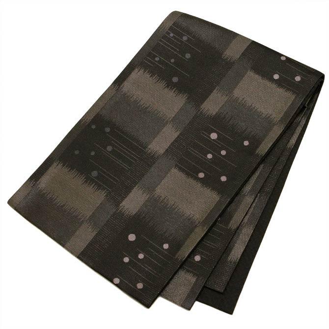 日本製●本場桐生織京袋帯 黒の地色に水玉とモダンな石畳の模様