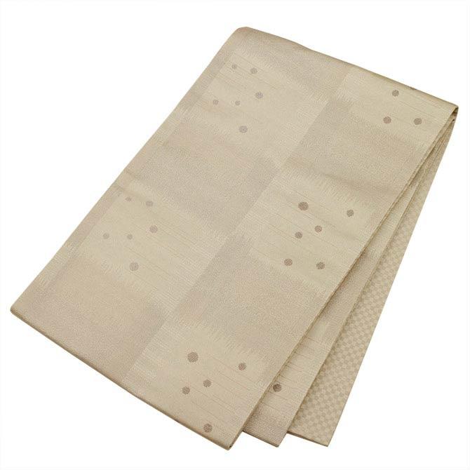 日本製●本場桐生織京袋帯★シルバーの地色に水玉とモダンな石畳の模様