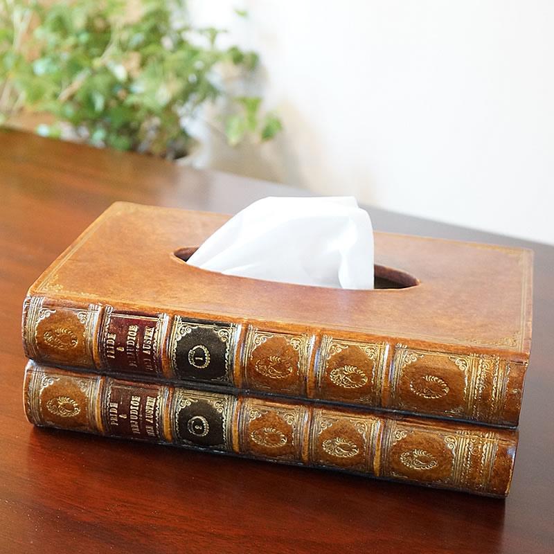 イギリス製 ティッシュボックス ブック型 置物【送料無料】ティッシュケース おしゃれ インテリア 雑貨 クラシック 置物 ヨーロッパ雑貨 アンティーク雑貨 インポート雑貨