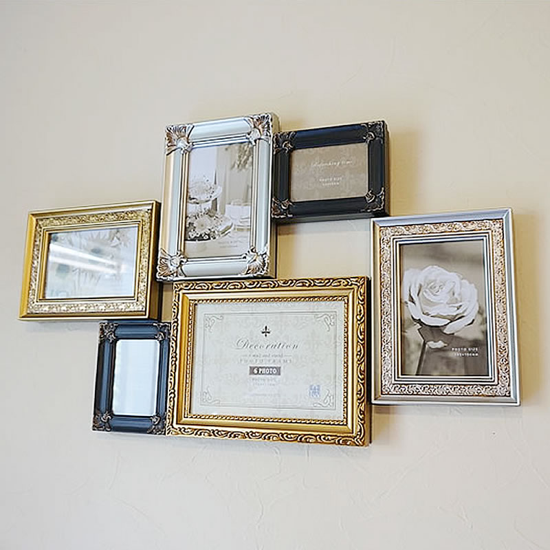Kirakukan: Family 6 photo frames (picture frames) with stand: Gold ...