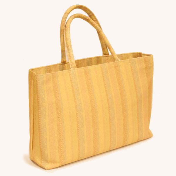 和装バッグ トート型 名物錦 <たて縞> 金色 チャック式ポケット付き 日本製 【一輪館】 /和装かばん/トートバッグ/和柄/かばん/鞄/縦縞 ※メール便不可