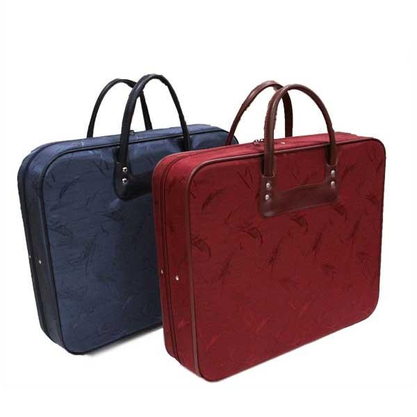 着物 帯 草履まで収納できる 洋装にも使える便利なバッグ 和装収納バッグ 横型 手描き風シンプル柄 休み 2色 赤 紺 紺色 和装ケース 休み レッド 脚付き 和装バッグ ※メール便不可 えんじ色 赤色 ネイビー