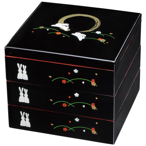 重箱 3段 黒 内朱 満月うさぎ 21cm  運動会 おしゃれ かわいい 3段重箱 三段重箱 7寸