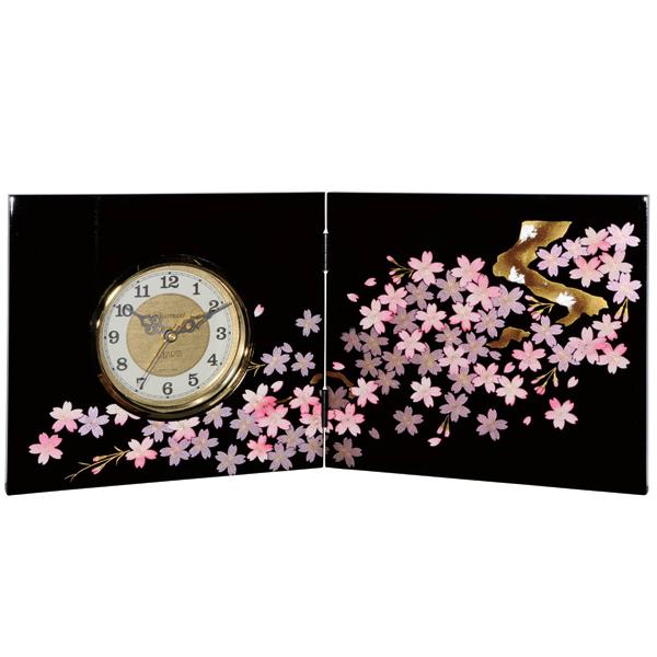 【10%OFF】屏風時計 黒 雅桜 木製 置時計