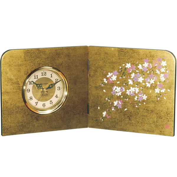 屏風時計 金箔貼り しだれ桜 木製 置時計