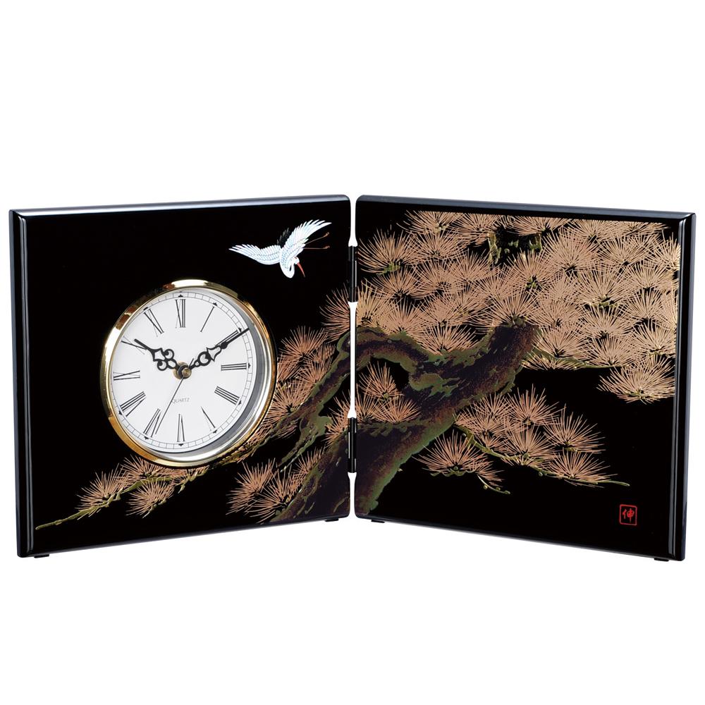 屏風時計 黒 飛祥 木製 置時計