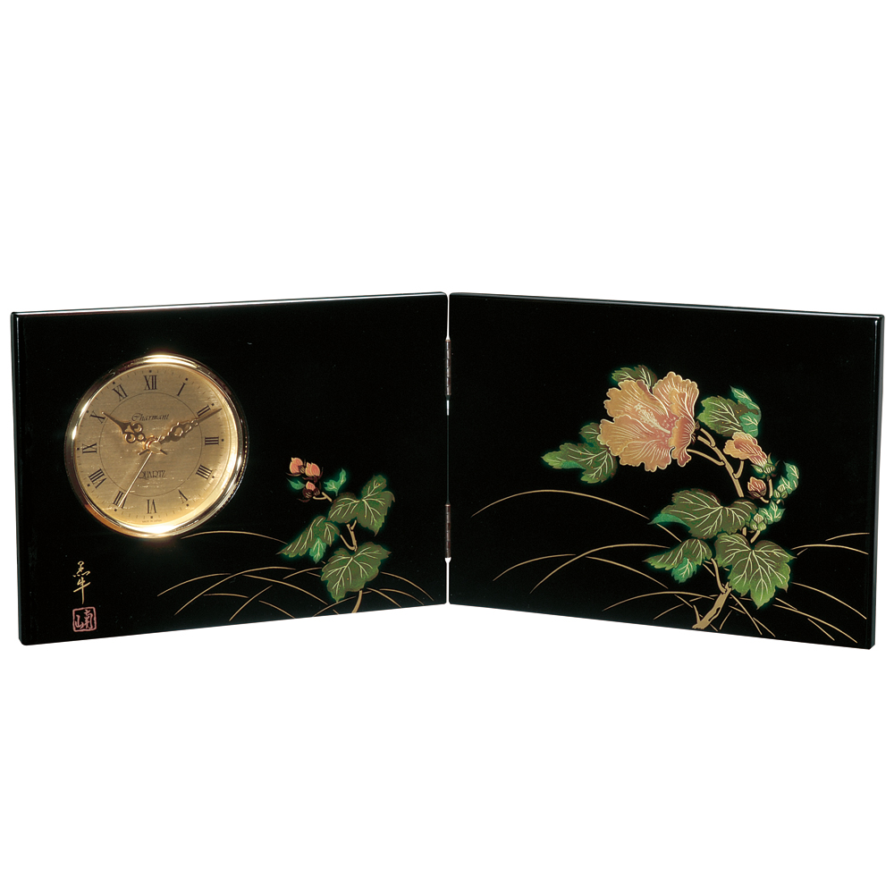 屏風時計 紀の花 木製 置時計