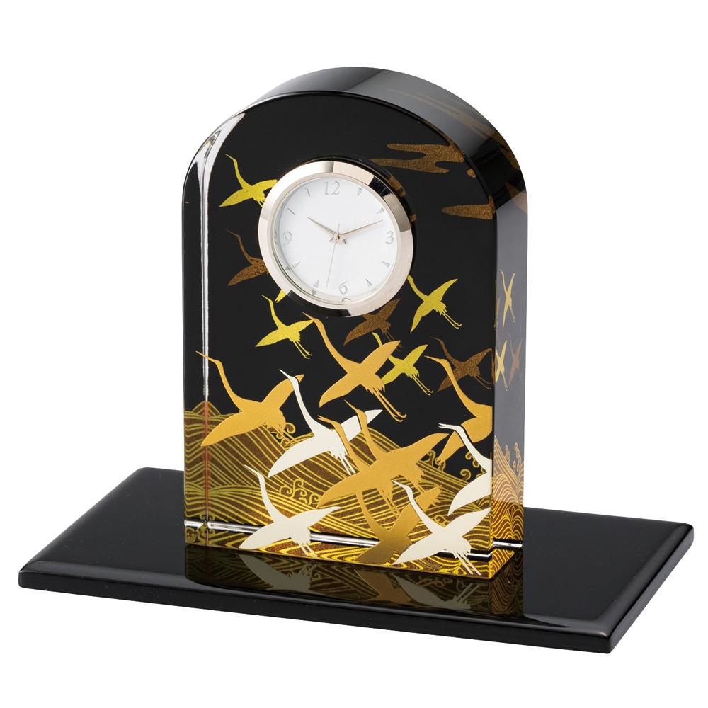 ガラス置時計 蒔絵 波に鶴
