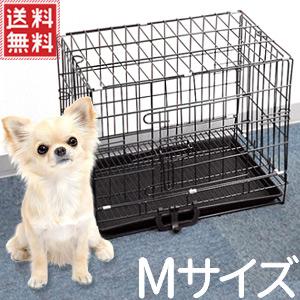ペットケージ 犬 折りたたみ ケージ Mサイズ 47×30×38cm スライドトレー付き 組立 折り畳み ペットサークル フェンス サークル 小型犬 犬用品 猫 うさぎ ウサギ ペット用品 sh 送料無料