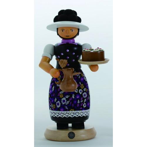 煙出し人形・ボレン帽子の女の子・ブラック (GE16642) 【ルタラー/Kunstgewerbe G.Lutherer GmbH&Co.KG】 【6歳以上から】