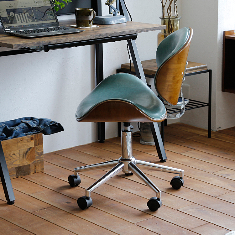 ノースチェア KNOX-eco チェアー チェア 椅子 書斎 オフィスチェア ノースチェア KNOX ノックス ワークチェア イス ミッドセンチュリ― レトロ 大人 かっこいい おしゃれ レザー ホワイト 白 ブラック 黒 グリーン