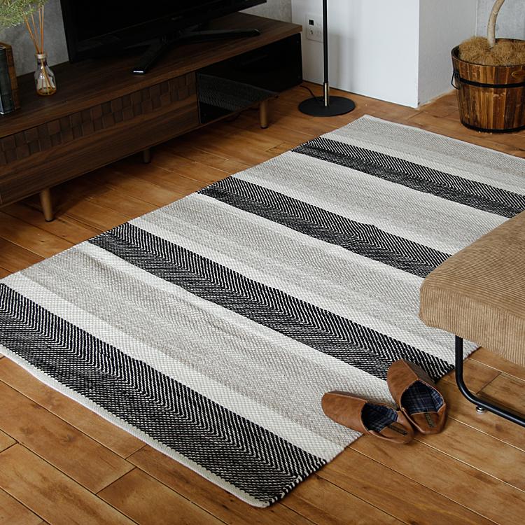 ラグマット BasShu BALAS(バラス) ラグマット ラグ マット 絨毯 カーペット じゅうたん 床暖房 ホットカーペット ヴィンテージ モダン 北欧 西海岸 ナチュラル 140×200cm basshu コットン ストライプ モノトーン