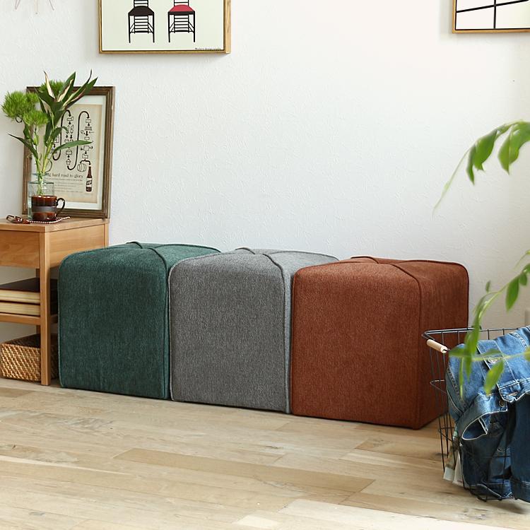 スツール COMS(コムス) スツール 椅子 ファブリックスツールイス オットマンサイドテーブル ナイトテーブル 布 北欧 モダン ヴィンテージ ビンテージ ミッドセンチュリー西海岸 ナチュラル シンプル グリーン オレンジ