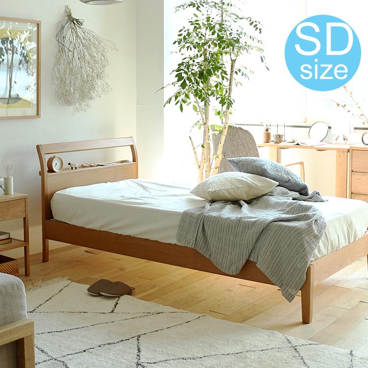 木製ベッド Crut(クルト) ベッド セミダブル フレーム ローベッド フロアベッド 北欧 ナチュラル 木製 かわいい おしゃれ 人気 シンプル 北欧調 ベッドフレーム コンセント
