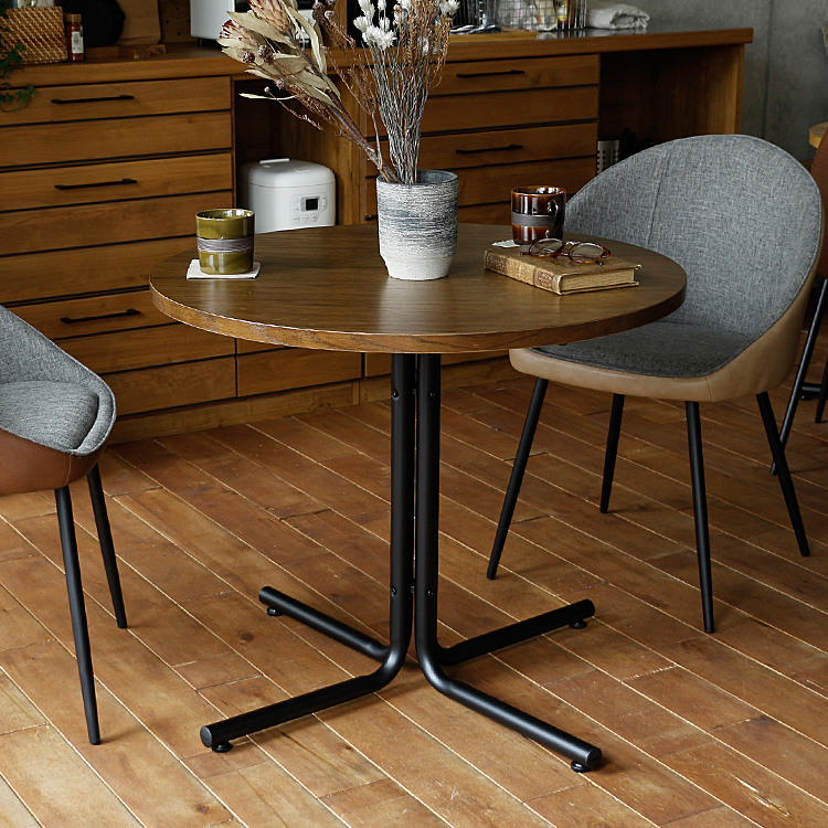 円形ダイニングテーブル Danz(ダンズ) カフェテーブル ダイニングテーブル テーブル ダイニング リビング 円形 直径80 幅80 80 食卓 ブラウン ナチュラル アイアン 木製 1人用 2人用 ヴィンテージ 北欧 インテリア