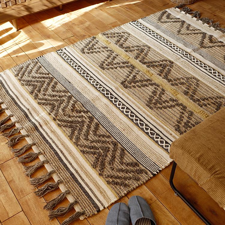 ラグマット BasShu GARNET RUG BROWN ラグマット ラグ マット 絨毯 カーペット じゅうたん 床暖房 ホットカーペット ヴィンテージ モダン 北欧 西海岸 ナチュラル 140×200cm basshu GARNET RUG ウール wool