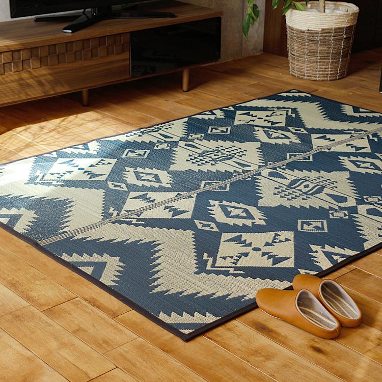 ラグマット BasShu IGUSA RUG ラグマット 夏用 い草 バッシュ IGUSA RUG 140×200 ヴィンテージ ネイビー ブルー 長方形 おしゃれ おすすめ 日本製